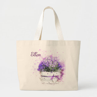 Pretty Pot of Purple Flowers. Feminine Large Tote Bag
