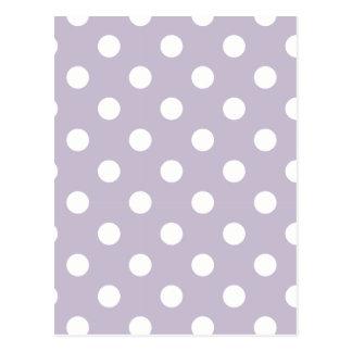pretty,powder purple,polka dot,white,girly,trendy, postcard