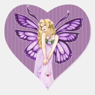 Pretty Preppy Stripes Purple Butterfly Fairy Heart Sticker