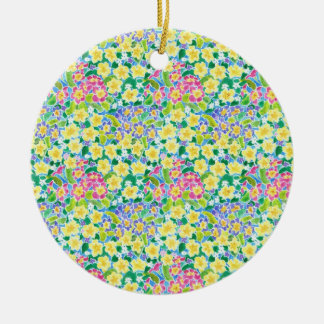 Pretty Primroses Round Ceramic Ornament for Spring