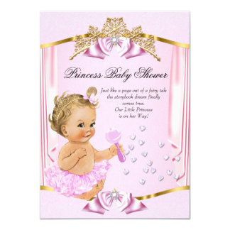Pretty Princess Baby Shower Pink Gold Blonde 11 Cm X 16 Cm Invitation Card
