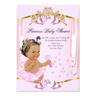 Pretty Princess Baby Shower Pink Gold Brunette 11 Cm X 16 Cm Invitation Card