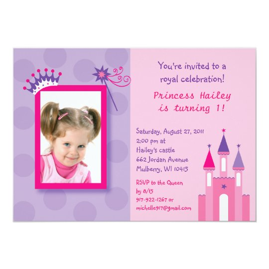 Pretty Princess Castle Photo Birthday Invitations