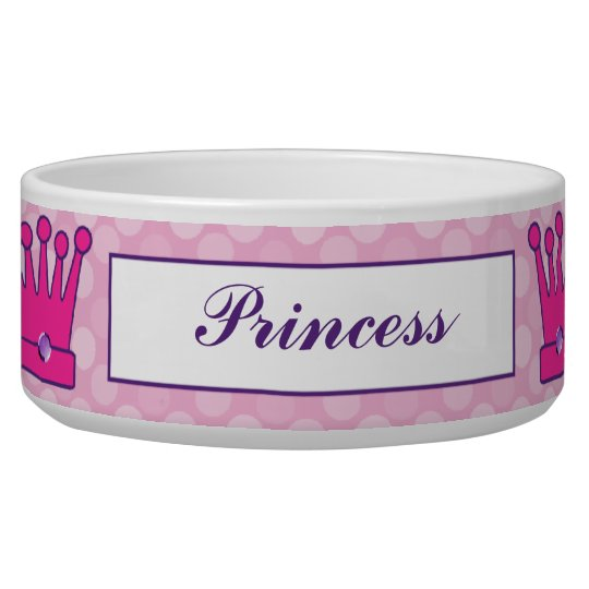 Pretty Princess Crown Personalised Dog Bowls