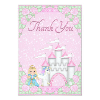 Pretty Princess, Unicorn & Castle Thank You Card