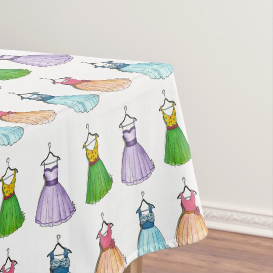 Pretty Prom Dresses Vintage Retro 1950s Fashion Tablecloth