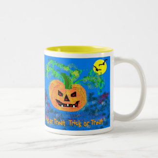 Pretty Pumpkin, Pretty Pumpkin,  Trick or Treat... Two-Tone Coffee Mug