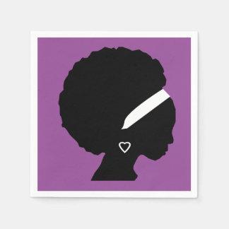 Pretty Purple Afro hair Disposable Napkins