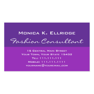 Pretty Purple and Fuchsia Fashion Consultant Pack Of Standard Business Cards