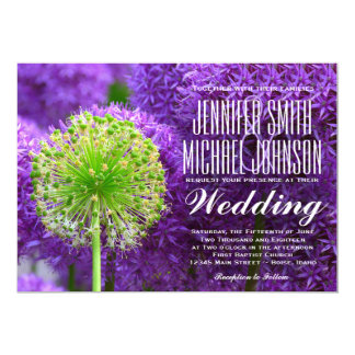 Pretty Purple and Green Flower Wedding Invitations