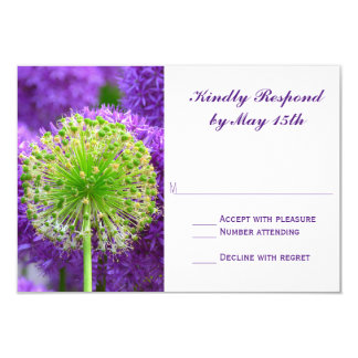 Pretty Purple and Green Flower Wedding RSVP Cards