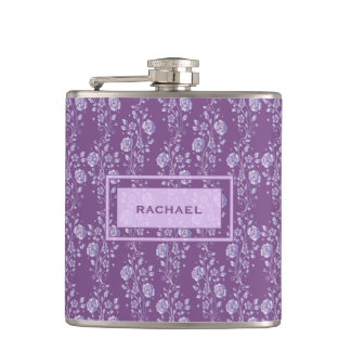 Pretty Purple and Lilac Floral Hip Flask