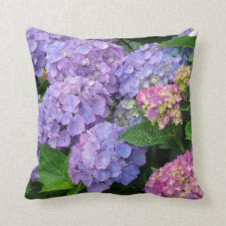 Pretty Purple and Pink Hydrangea Flowers Cushion