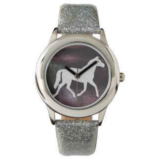 Pretty Purple and Silver Gitter Horse Watch