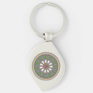 Pretty Purple and White Daisy Flower Tile Mosaic Key Ring