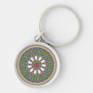 Pretty Purple and White Daisy Flower Tile Mosaic Silver-Colored Round Key Ring