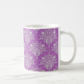 Pretty Purple and White Damask Coffee Mugs