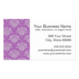 Pretty Purple and White Damask Pack Of Standard Business Cards
