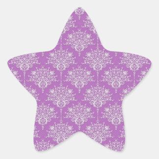 Pretty Purple and White Damask Star Stickers