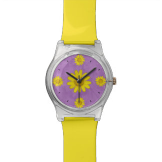 Pretty Purple and Yellow Flower Wrist Watches