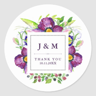 Pretty Purple Anemone Flowers Watercolor Wedding Round Sticker