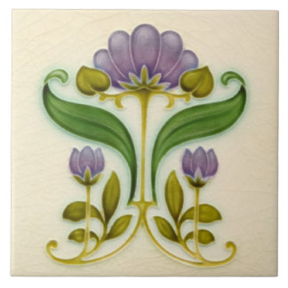 Pretty Purple Art Nouveau Floral c1900 Tile Design