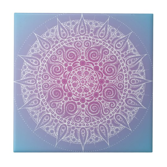 Pretty Purple/Blue Oriental Design Small Square Tile