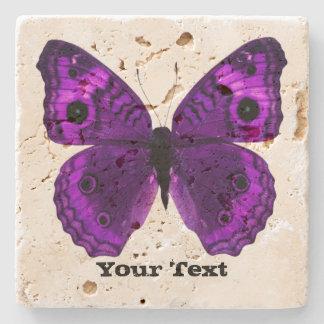 Pretty Purple Butterfly Custom Stone Coaster