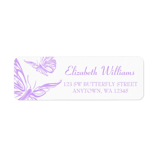 Pretty Purple Butterfly Return Address Label