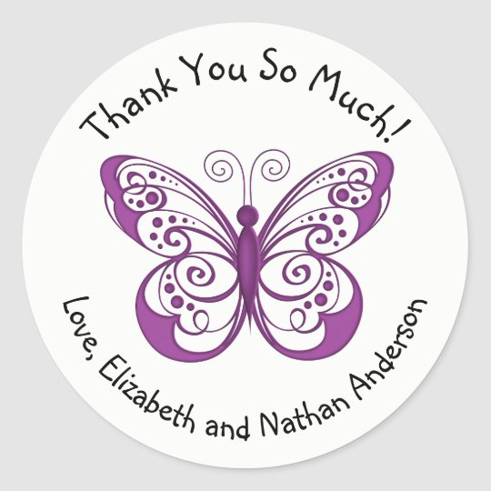 Pretty Purple Butterfly Thank You Personalised Classic Round