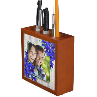 Pretty Purple Clematis Flowers Custom Photos Desk Organiser