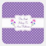 Pretty Purple Dots Country Chic Bookplate/Sticker Square Sticker