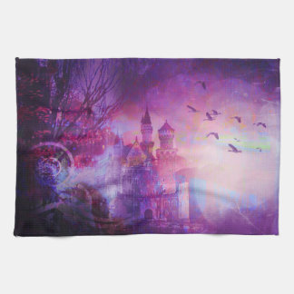 Pretty Purple Fairy Tale Fantasy Castle Tea Towel