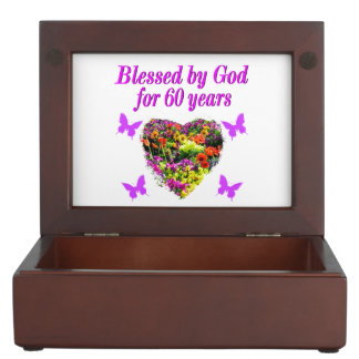 PRETTY PURPLE FLORAL 60TH BIRTHDAY DESIGN KEEPSAKE BOX