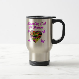PRETTY PURPLE FLORAL 60TH BIRTHDAY DESIGN STAINLESS STEEL TRAVEL MUG