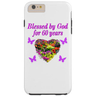 PRETTY PURPLE FLORAL 60TH BIRTHDAY DESIGN TOUGH iPhone 6 PLUS CASE