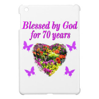 PRETTY PURPLE FLORAL 70TH BIRTHDAY DESIGN CASE FOR THE iPad MINI