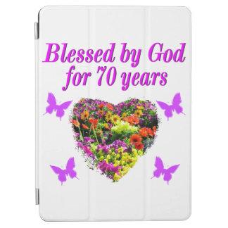 PRETTY PURPLE FLORAL 70TH BIRTHDAY DESIGN iPad AIR COVER