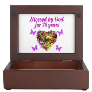 PRETTY PURPLE FLORAL 70TH BIRTHDAY DESIGN MEMORY BOXES