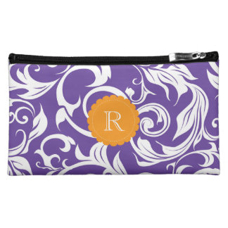 Pretty Purple Floral Wallpaper Swirl Monogram Makeup Bag