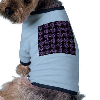 Pretty Purple Flower Art on Black Floral Pattern Pet Clothes