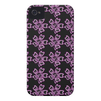 Pretty Purple Flower Art on Black Floral Pattern iPhone 4 Covers