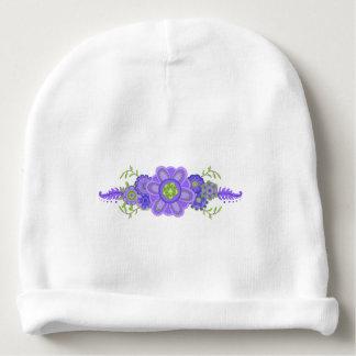 Pretty Purple Flowers Centerpiece Baby Beanie