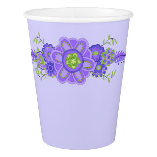 Pretty Purple Flowers Centerpiece Paper Cup