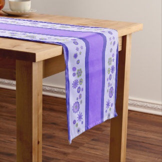 Pretty Purple Flowers Centerpiece & Stripes Short Table Runner