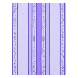 Pretty Purple Flowers Centerpiece & Stripes Tablecloth