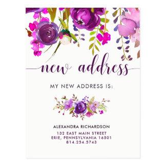 Pretty Purple Flowers | New Address Postcard