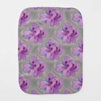 Pretty Purple Flowers on Silver Baby Burp Cloth