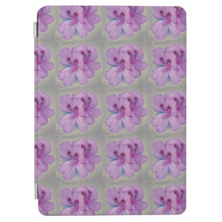 Pretty Purple Flowers on Silver Gray iPad Air Cover