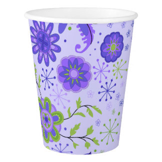 Pretty Purple Flowers Paper Cup